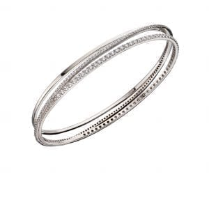 Crossover pave bangle in silver and cz