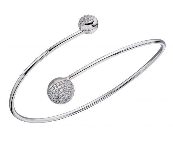 Ball bangle bracelet with pave stone setting