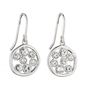 Round organic earrings with crystal