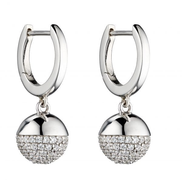 Ball earring with pave stone setting