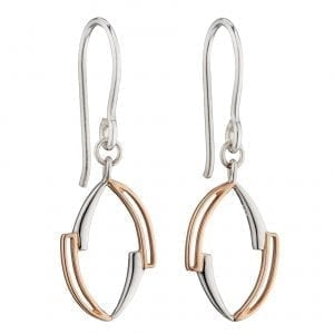 Asymetric marquise earrings with rose gold plating