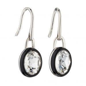 Black Enamel border with Clear precious crystal earrings