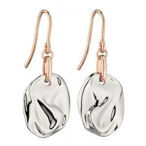 Crinkle component in silver with rose gold detail earrings