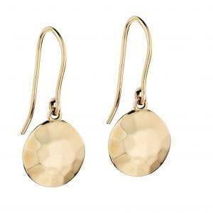 yellow gold, hammer finish, irregular disc earrings