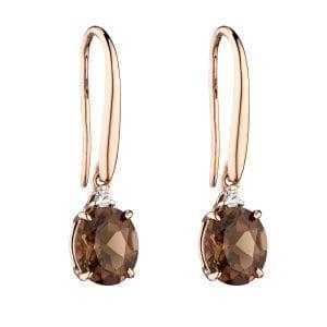 Oval Set Smokey Quartz Rose Gold earrings