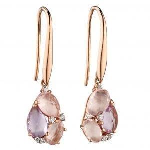 rose de france and rose quartz tear drop cluster earrings yellow gold