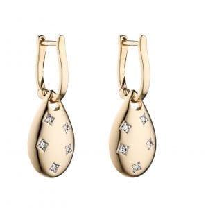 yellow gold diamond cut out drop shape earrings