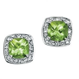 white gold earrings with cushion cut peridot with pave diamond surround