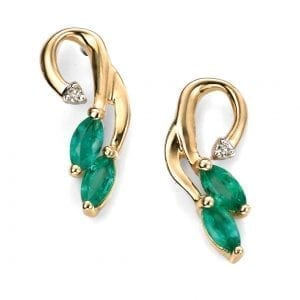 YEL DIA Emerald Vine earrings