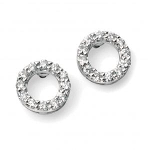 WG open circle pave earrings