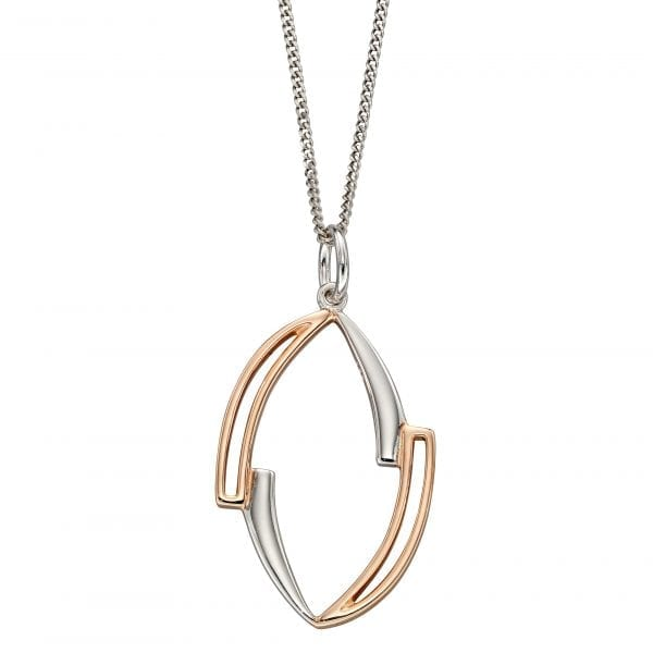 Asymetric marquise pendant with rose gold plating