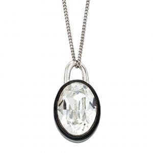 Black Enamel border with Clear precious crystal pendant