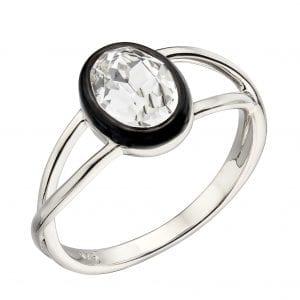 Black Enamel border with Clear precious crystal ring